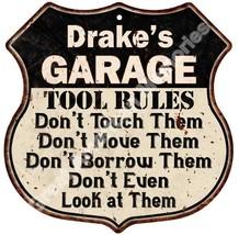 """Drake's GARAGE TOOL RULES 12"""" Shield Sign Man C... - $23.95"""