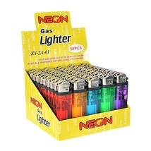 50 Neon Brand Disposable Clear Cheap As Lighters Butane, Candles Lighters. - $9.95