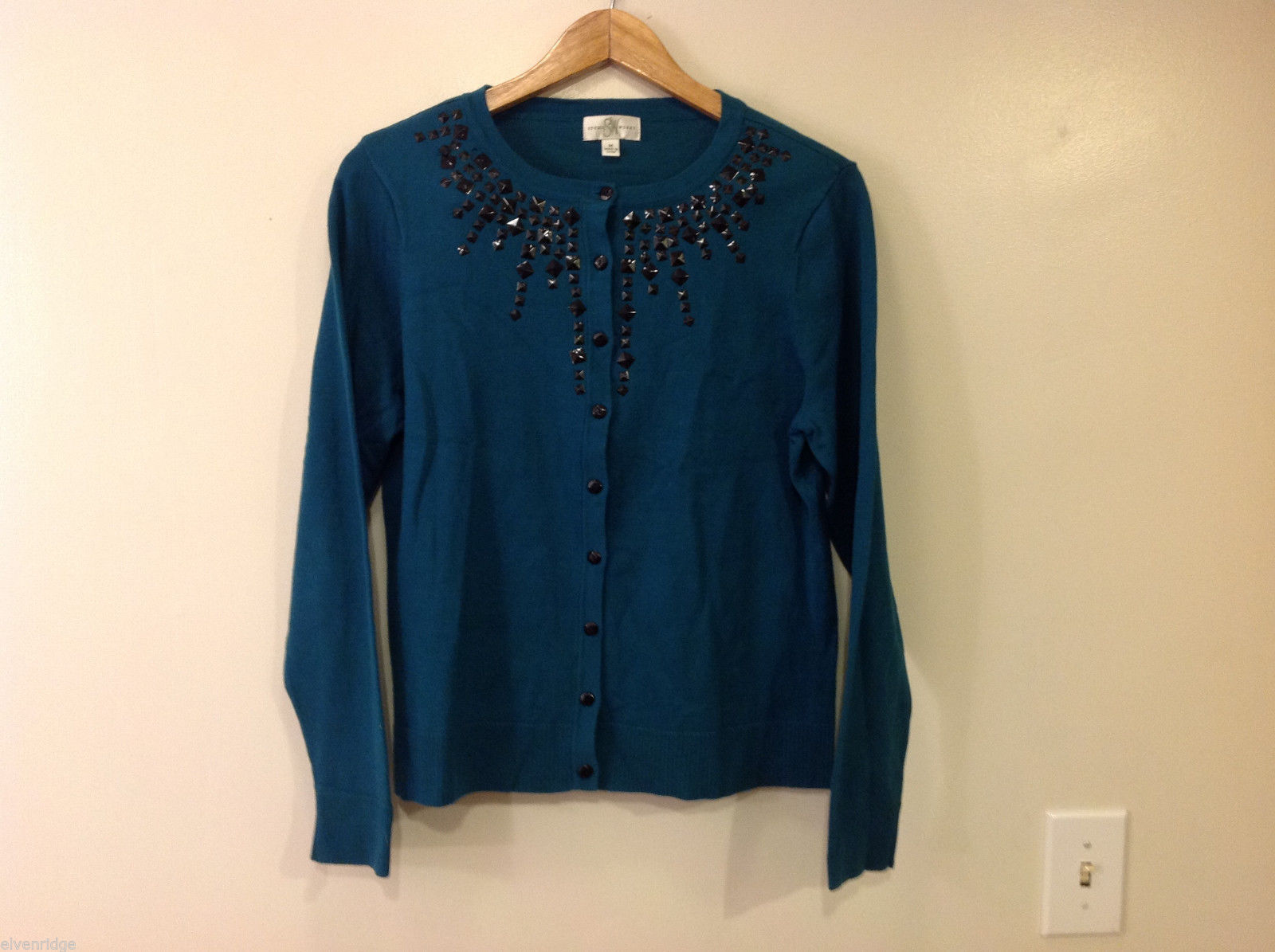 Studio Works Womens' Size M Dark Teal Cardigan Sweater w/ Black Beading at Neck