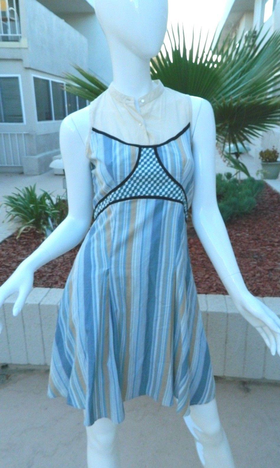 FREE PEOPLE Dress Cornflower Blue and Beige Striped 100% Cotton Dress-Size 4