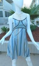 FREE PEOPLE Dress Cornflower Blue and Beige Striped 100% Cotton Dress-Si... - $27.87