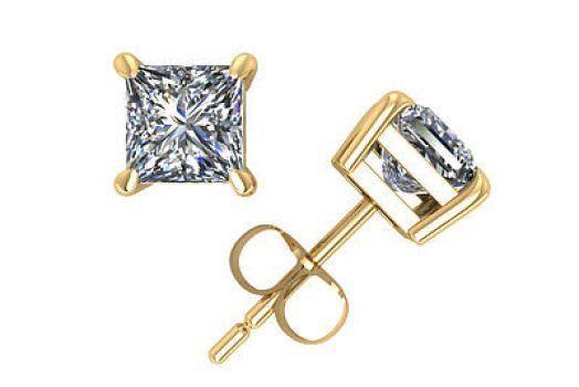 1.50CT Brilliant Princess Cut Solid 14K Yellow Gold PushBack Stud Earrings