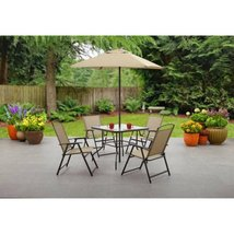 Bistro Dining Set Outdoor Patio Garden Yard Furniture 6 Piece Folding Um... - $159.98