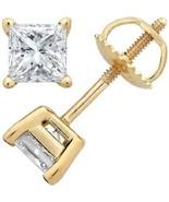 1.25CT Brilliant Princess Cut 18K Yellow Gold ScrewBack Stud Earrings - $137.61