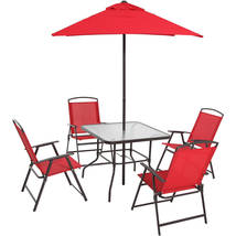 Dining Set Outdoor Patio Garden Yard Furniture 6 Pc Folding Umbrella Tab... - $199.99