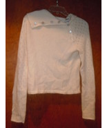 Heart Cream Button Down Side Angora Blend Sweater Size M - $8.99