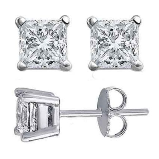 1CT Brilliant Princess Cut Solid 18K White Gold PushBack Stud Earrings