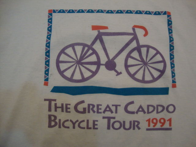 "Primary image for Vintage ""The Great Caddo Bicycle Tour"" 1991 Exercise White T Shirt Men's Size L"