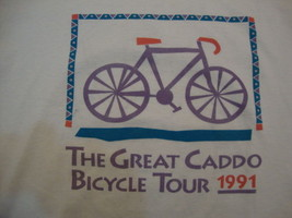 "Vintage ""The Great Caddo Bicycle Tour"" 1991 Exercise White T Shirt Men's... - $15.83"
