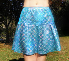 Ameynra design light blue skirt, sparkling, with ruffle. Size S, New - $14.00
