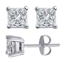 4.00CT Brilliant Princess Cut Solid 18K White Gold PushBack Stud Earrings - $252.45