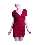 Halston Heritage Dress Hot Pink Ruched Short Sleeve Jersey Mini Dress Sz-S - $52.35