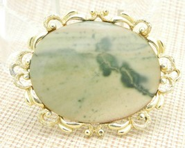 Peach Cream Green Agate Stone Gold Tone Pin Brooch Vintage Large image 1