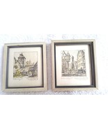 Two Vintage WILLI FOERSTER Kleingraphik Hand Signed Prints Miniature Ger... - $24.95