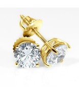 3CT Round Brilliant Solid 18K Yellow Gold Basket ScrewBack Stud Earrings - $245.51