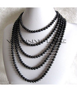 "100"" 4-5mm Black Freshwater Pearl Strand Necklace Cultured Jewelry - $33.28"