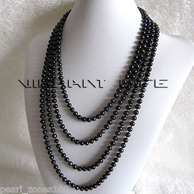 """100"""" 4-5mm Black Freshwater Pearl Strand Necklace Cultured Jewelry"""