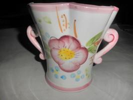 Vintage Relpo Handpainted Planter Vase, M6705, Double Handled, Floral - $17.32