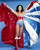 Wonder Woman Lynda Carter Full Length Holding Up Stars & Stripes 16x20 Canvas - $69.99