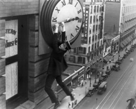 Harold Lloyd Hanging On Clock B&W 16x20 Canvas Giclee - $69.99