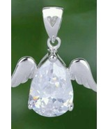 925 Sterling Silver Angel Wing White Topaz Love Pendant Womens Jewelry U... - $9.99