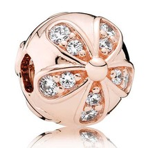 Rose Gold Plated Dazzling Daisies Clip Stopper European Jewelry Charm Be... - $22.66