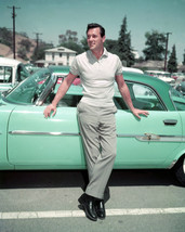 Rock Hudson 16x20 Canvas Giclee Classic Pose By Green Vintage Sports Car 1950'S - $69.99