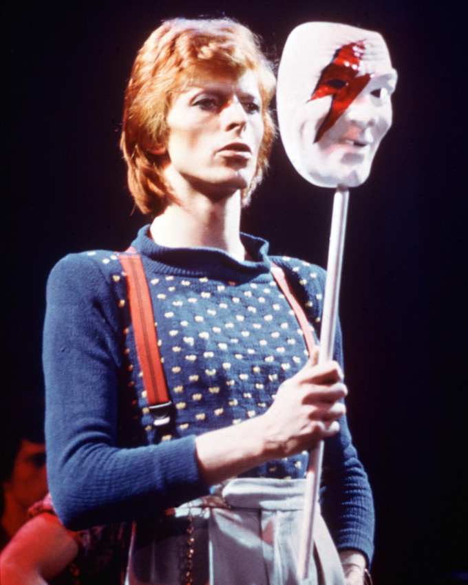 Primary image for David Bowie 16x20 Canvas Giclee Holding Face Mask In Concert 1970'S