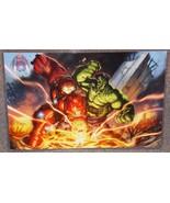 Incredible Hulk vs Hulkbuster Glossy Art Print 11 x 17 In Hard Plastic S... - $24.99