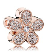 Rose Gold Plated Dazzling Daisy with Pave Cz European Jewelry Charm Bead... - $23.99