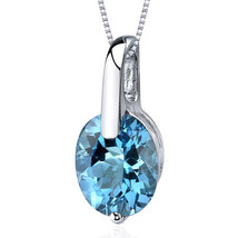 Women's Sterling Silver Oval Swiss Blue Topaz Solitaire Pendant Necklace - $89.99