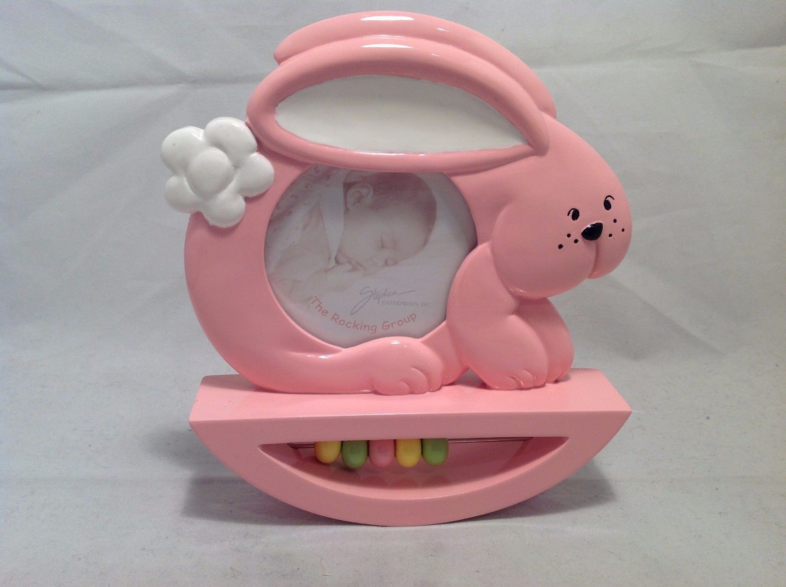 Preowned Never Used The Rocking Group Pink Bunny Baby Photo Frame