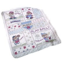 Bucilla Stamped Cross Stitch Crib Cover Kit 34 by 43Inch 45386 Baseball ... - $50.79
