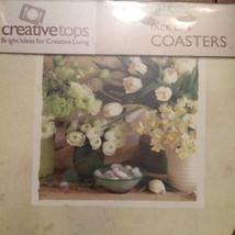 "Pack of 6 CREATIVETOPS Coasters. White Flowers (4""X 4"") - $9.65"