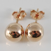 18K ROSE GOLD EARRINGS WITH BIG 8 MM BALLS BALL ROUND SPHERE, MADE IN ITALY - $230.00
