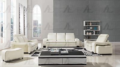 American Eagle  AE210-IV Sofa Loveseat and Chair Contemporary Modern Leather 6pc
