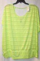 New Lane Bryant Womens Plus Size 26W 28W Neon Lime Shadow Stripe Shirt W Keyhole - $19.34