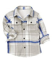 Crazy 8 Snow Extreme Grey Blue Plaid Shacket Sherpa Jacket Boys 2T Twins... - $13.99
