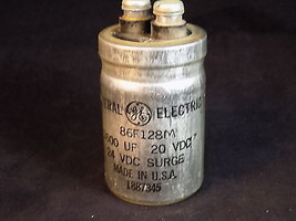 ELECTROLYTIC CAPACITOR GENERAL ELECTRIC 3600 UF 20 VDC 24Vdc surge 86F128M - $9.37