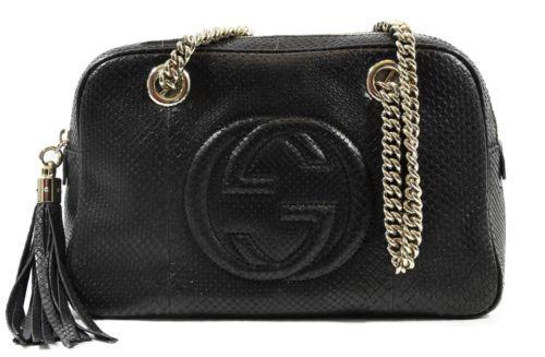 NWT GUCCI 308983 Soho Python Shoulder Bag, Black