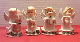 Four Christmas Angels Bisque Porcelain Angel Figurines Christmas Decor - $15.00