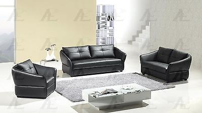 American Eagle AE348-BK Sofa Loveseat and Chair Contemporary Modern Leather 3pcs