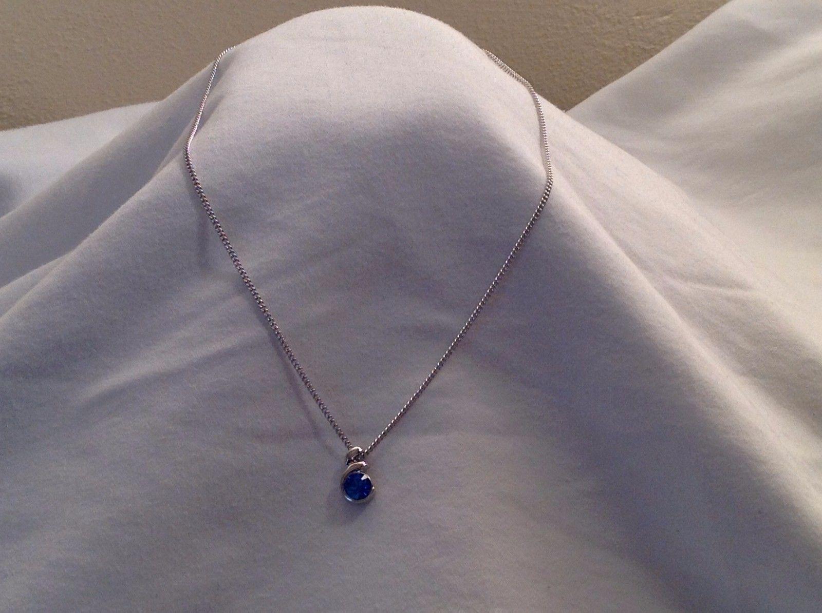 """New NWT Annaleece Essetia Rhodium Necklace Sapphire Swarovski Element 16"""" Chain"""