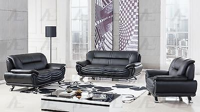 American Eagle  AE388-BK Sofa Loveseat and Chair Contemporary Modern Leather 3pc