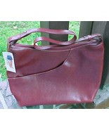 NWT Maxx New York Dark Red Pebble Leather Shoulder Hobo Bag - $75.00