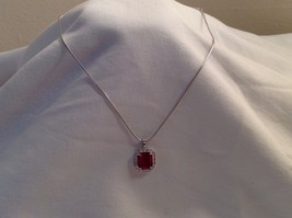New Annaleece Necklace Royal Rhodium Silver Ruby Red Stone withSwarovski... - $59.39