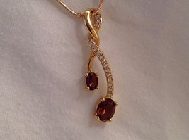 New Annaleece Necklace Twisted 22 Karat Gold 2 Amber Color Stones with Swarovski image 2