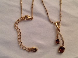 New Annaleece Necklace Twisted 22 Karat Gold 2 Amber Color Stones with Swarovski image 4