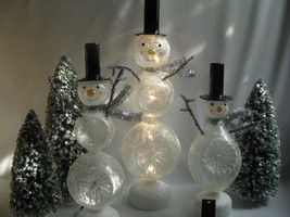 3 Large Glitter  Glass Snowman Figures Lighted LED Black Top Hats - $104.89