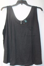 Cool Retro New Womens Plus Size 3X All Black W Chest Pocket Zip Up Back Tank Top - $10.83